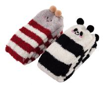 Littleforbig Cute Animal Coral Fleece Thigh High Long Striped Socks 2 Pairs