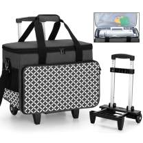 Yarwo Detachable Rolling Sewing Machine Carrying Case, Trolley Tote Bag with Removable Bottom Wooden Board for Most Standard Sewing Machine and Accessoriess, Black with Grid