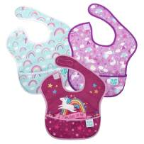 Bumkins SuperBib, Baby Bib, Waterproof, Washable, Stain and Odor Resistant, 6-24 Months, 3-Pack - Unicorn and Rainbow