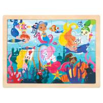 ROBUD Wooden Jigsaw Puzzles for Kids Ages 3+,Sturdy Wooden Tray,24-Piece Puzzles,Colorful Original Artwork,Preschool Puzzles Educational Learning Toys for Toddlers/Girls/Boys(Under The sea)