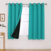 Deconovo Small Window Curtains Double Layer Soundproof Curtains Light Blocking Curtains 63 Inch Length Bedroom Curtains 2 Panel Sets for Kids Bedroom 52x63 Inch Turquoise