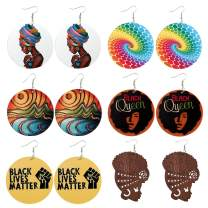 African Earrings Set 6 Pairs Ethnic Wooden Colorful Disc Drop Earrings for Women Girls Handmade Natural Wood Round African Map Geometric Earrings Colourful Painted Drop Dangle Earrings