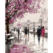 Adarl DIY Oil Painting Paint by Numbers for Adults Canvas Hand Painting Kit Street and Passers Colorful Painting,Arts Crafts & Sewing for Home Decor