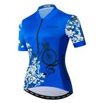 Women Cycling Jersey Half Zipper Bicycle Bike Breathable Short Sleeve Shirt Clothing Tops