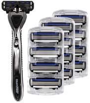 Shave Mob: The Average Joe - Men's 4 Blade Shaving Razor - 12pk Refill- Non-slip Handle - Precision-Cut Blades - Clog Resistant - Lubrication Strip: Chamomile, Olive Oil, Allantoin
