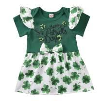 Newborn Baby Girls 1st ST Patrick's Day Outfit Green Sequin Romper Dress Ruffled Halter Bodysuit Tutu Dress 0-24M