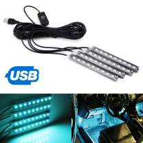 iJDMTOY 4pc 5-Inch 36-SMD LED Ambient Styling Lighting Kit As Car Interior Decoration, Powered From Car 5V USB Socket, Ice Blue