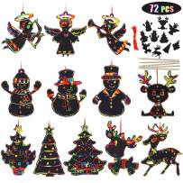 Blissun 72 Pcs Rainbow Color Scratch Christmas Ornaments, Magic Color Christmas Ornaments Craft Kit Toys Include Snowman, Christmas Tree, Reindeer and Angel, 24 Drawing Sticks