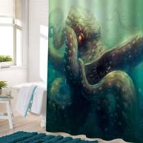 """MitoVilla Octopus Kraken Shower Curtain Set with Hooks, Angry Sealife Whips Around Tentacles Artwork Bathroom Decor for Ocean Wild Animal Lovers, Mens and Boys, Green, 72"""" W x 72"""" L for Bathtub"""