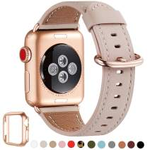 WFEAGL Compatible iWatch Band 44mm 42mm,Top Grain Leather Band with Gold Adapter(The Same as Series 5/4/3 with Gold Aluminum Case in Color) for iWatch Series 5/4/3/2/1(PinkSand Band+Rosegold Adapter)