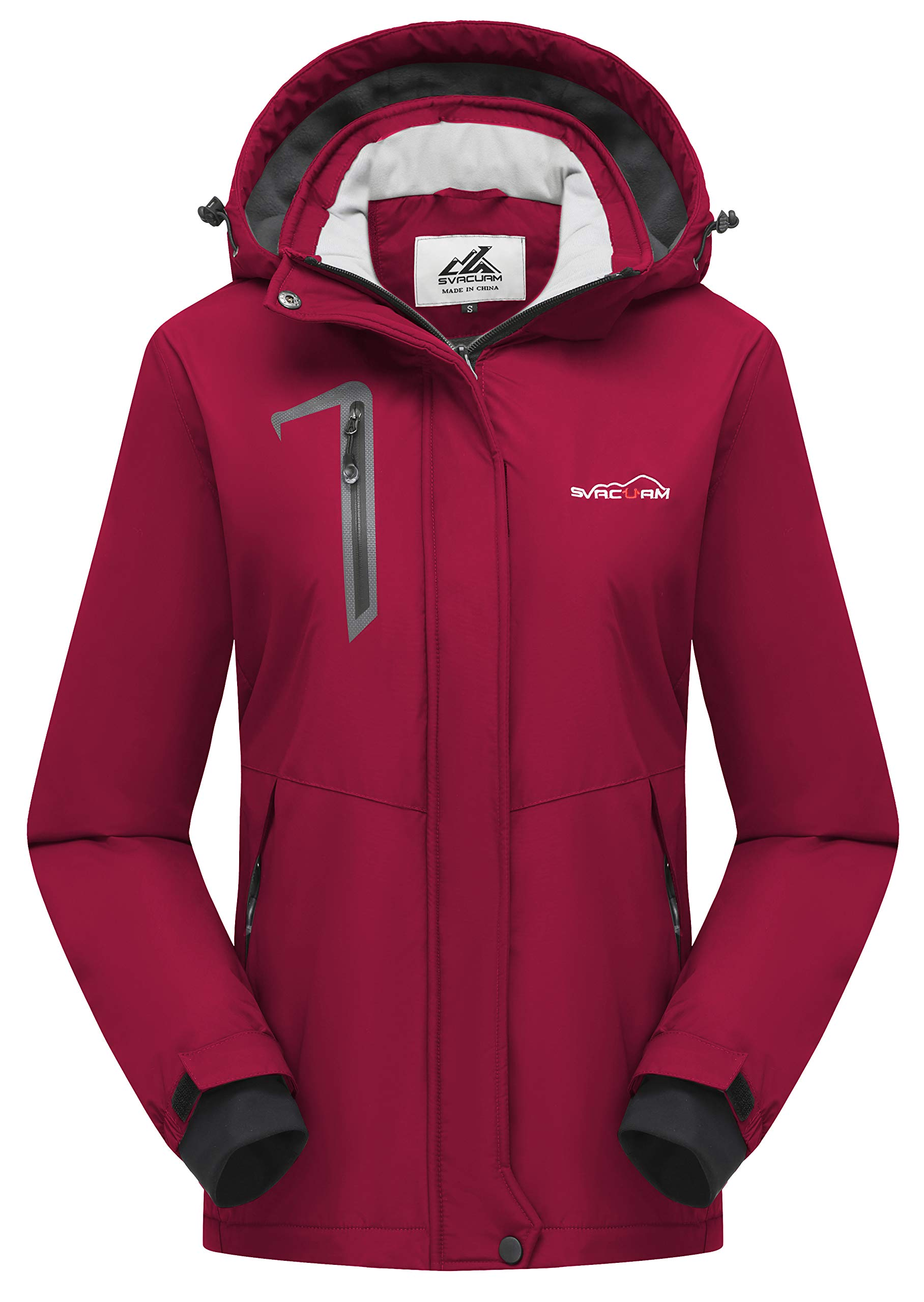 svacuam Women's Waterproof Warm Sherpa Fleece Lined Ski Jacket with Removable Hood