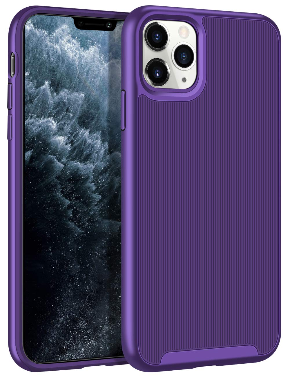 HoneyAKE Case for iPhone 11 Pro Case Slim Protective Cover Anti Slip Hybrid Soft TPU Hard PC Bumper Raised Lips Rugged Shockproof Protection Shell for 5.8 inches iPhone 11 Pro Purple