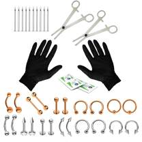 BodyJ4You 36PC Professional Piercing Kit Steel 14G 16G Belly Ring Tongue Bar Tragus Nipple Nose Lip