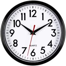 """Bernhard Products - Black Wall Clock 8"""" Silent Non-Ticking Quality Quartz Battery Operated Small Clock for Home/Office/Kitchen/Classroom/Bedroom Easy to Read (Black, 1 Clock)"""