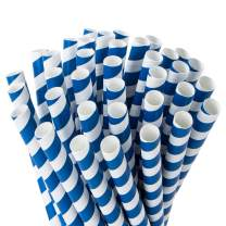 Webake Paper Straws Biodegradable 0.4 Inches Wide Smoothie Straws, Bulk 100 Jumbo Thick Straws Navy Blue Drinking Straws for Smoothies, Milkshake, Christmas Decoration