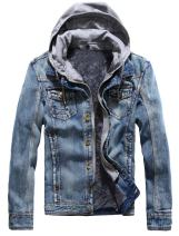 Minibee Men's Winter Denim Jackets Buttn Down Closure Coats with Drawstring Hooded Casual Slim Fit Outwear