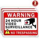 "Video Surveillance Sign TOHAO 3 Pack No Trespassing Warning Signs 10"" x 7"" UV Printed Waterproof Reflective .04"" Aluminum for Outdoor Security Camera"