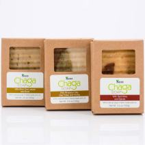 Sayan Siberian Chaga Mushroom Soaps –Pack of 3, Chaga with Birch Tree Leaves and Buds, Chaga with Red Wine and Spices & Chaga with Rhassoul Clay, Bee Pollen and Honey - All Natural and Hand Made