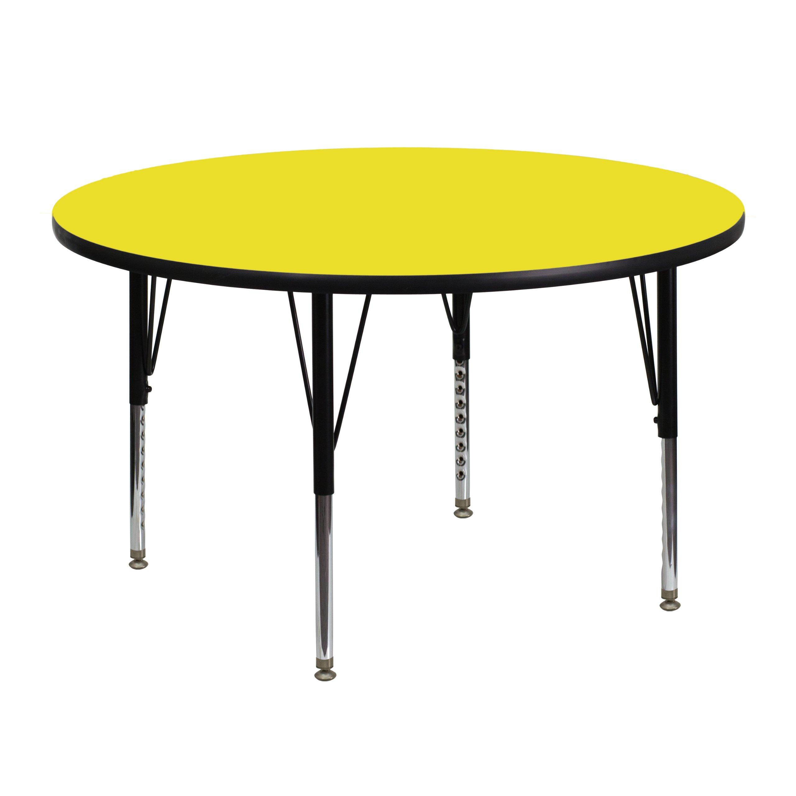 Flash Furniture 48'' Round Yellow HP Laminate Activity Table - Height Adjustable Short Legs