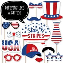Big Dot of Happiness Stars and Stripes - Memorial Day USA Patriotic Party Photo Booth Props Kit - 20 Count