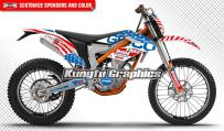Kungfu Graphics Custom Decal Kit for Freeride 250 350 2012 2013 2014 2015 2016 2017, Red Blue White, Style 001