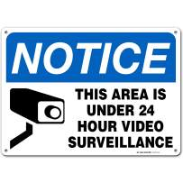 "24 Hour Video Surveillance Sign, Security Camera Sign Warning for Home or Business CCTV Monitoring System, Outdoor Rust-Free Metal, 10"" x 14"" - A82-131AL"