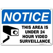 """24 Hour Video Surveillance Sign, Security Camera Sign Warning for Home or Business CCTV Monitoring System, Outdoor Rust-Free Metal, 10"""" x 14"""" - A82-131AL"""
