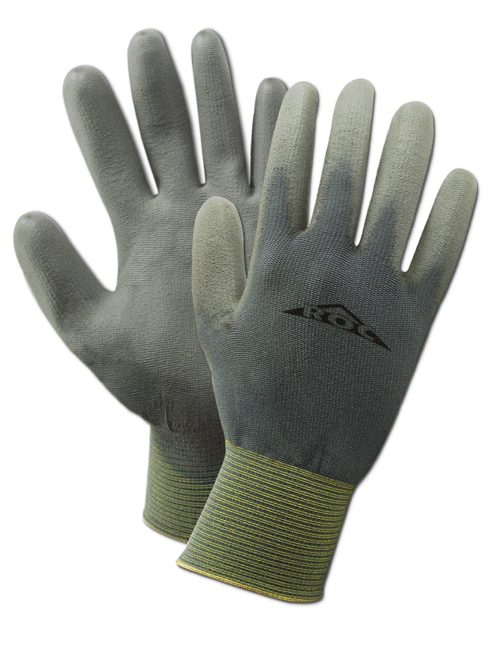 "MAGID ROC GP150 Nylon Glove, Polyurethane Palm Coating, Knit Wrist Cuff, 9.5"" Length, Size 8  (12 Pair)"