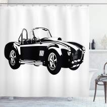 "Ambesonne Cars Shower Curtain, Silhouette Classic Sport Car Ac Cobra Roadster American Antique Engine Autosport, Cloth Fabric Bathroom Decor Set with Hooks, 70"" Long, Black White"