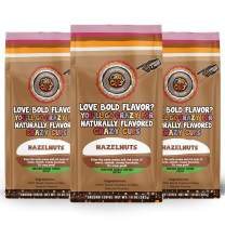 Crazy Cups Decaf Flavored Ground Coffee, Hazelnuts, in 10 oz Bags, For Brewing Flavored Hot or Iced Decaf Coffee, 3 Pack