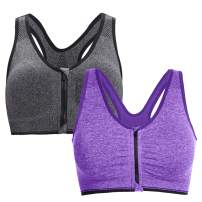 Hawiton Women's Sport Bra Zipper Front Closure Low Impact Seamless Padded Removeable 2/4 Pack