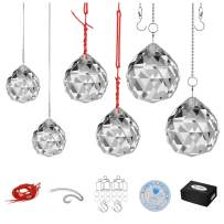MerryNine Clear K9 Crystal Prism Ball Pendant kit Suncatcher Rainbow Pendants Maker, Hanging Crystals Prisms with Fish line,Rope and Beautiful Chain(30mm,40mm,50mm 6Pack)