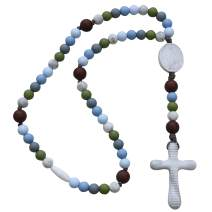 Chews Life - Teething Rosary Beads - Baptism Gift & Mass Toy for Catholic Girls & Boys, Handmade, Silicone Beads & Organic Cotton Cord - CPSIA Certified Safe   Versa L'Alto