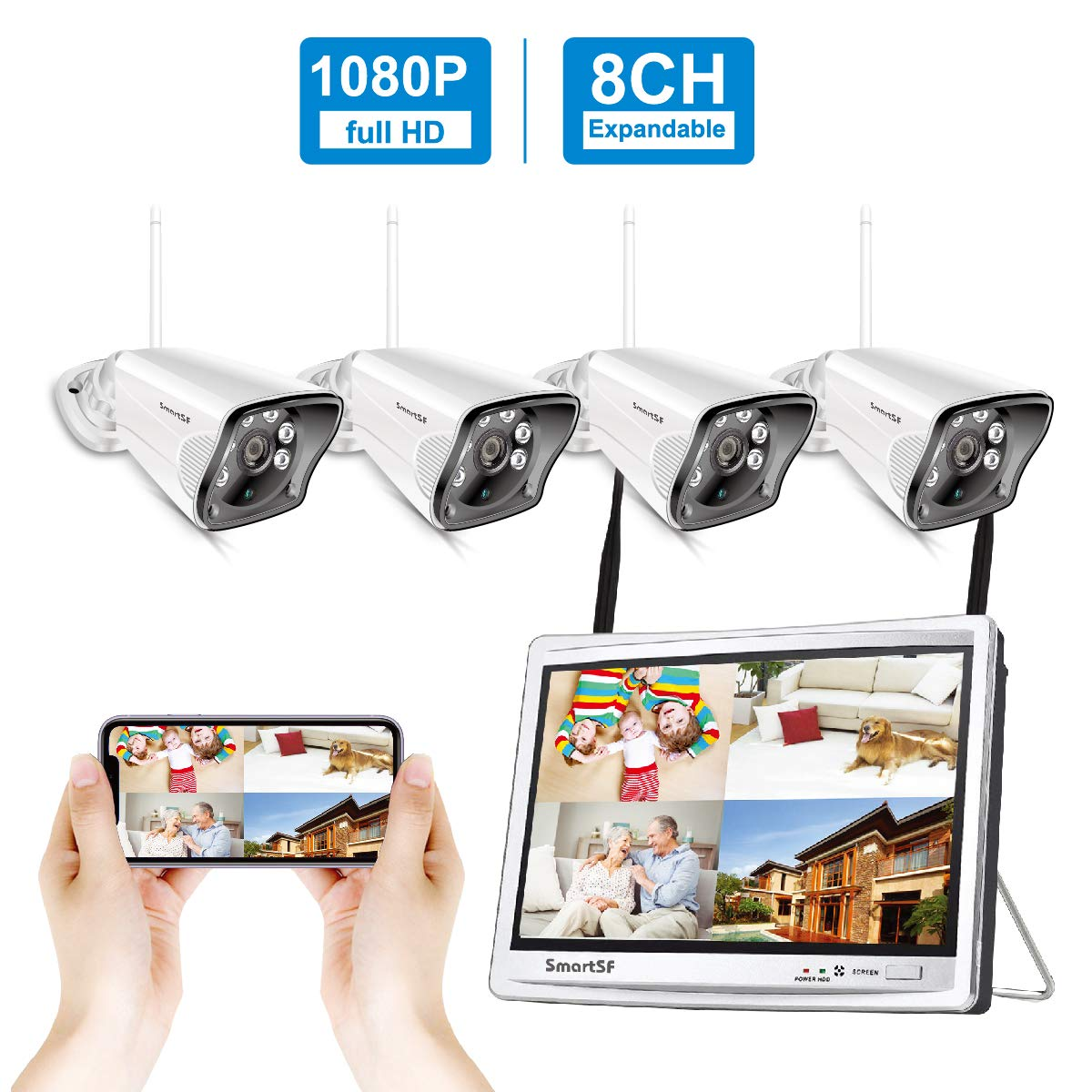 SmartSF 8CH 1080P NVR with 12- inch Monitor Wireless Surveillance Security Camera System CCTV Kit,4Pcs 1080P 2MP Weatherproof IP Camera,65ft Night Vision and Free APP Access,Motion Alert