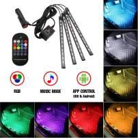 TUNEZ Interior Car Lights, Car LED Strip light 48 LED App Wireless Controller Lighting Kits, Multicolor Music Under Dash Led Car Interior lights with Car Charger Car Atmosphere Light, DC 12V