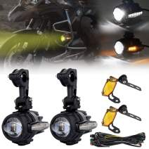MOVOTOR LED Auxiliary Lights Motorcycle Flash Strobe Driving Light with DRL Amber Turn Signal Fog Lights for BMW R1200GS F800GS Honda Harley Davidson