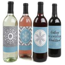 Big Dot of Happiness Winter Wonderland - Snowflake Holiday Party and Winter Wedding Decorations for Women and Men - Wine Bottle Label Stickers - Set of 4