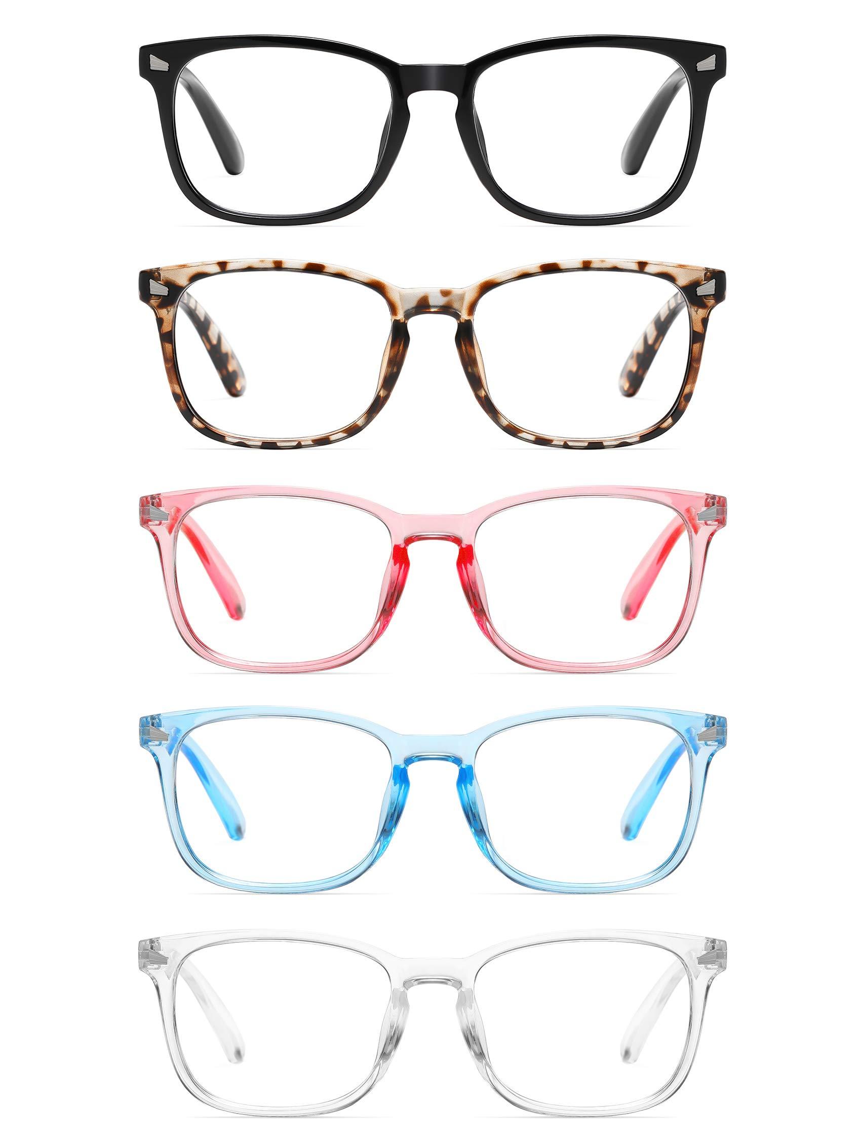 CCVOO 5 Pack Reading Glasses Blue Light Blocking, Filter UV Ray/Glare Computer Readers Fashion Nerd Eyeglasses Women/Men (C3 Mix, 3.0)