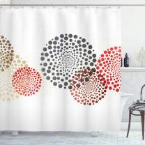 "Ambesonne Abstract Shower Curtain, Modern and Cool Design with Abstract Dots Like and Circled Design Artwork, Cloth Fabric Bathroom Decor Set with Hooks, 70"" Long, Red Grey"
