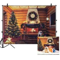 KERIQI 7x5ft Christmas Backdrop for Photography Background, Rustic Wooden Wall Christmas Tree Fireplace Theme Photo Backdrops Studio Booth Prop for Xmas Holiday Party Decorations