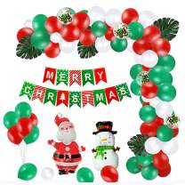 100 Pcs Christmas Balloons Decorations Kit Merry Christmas Foil Balloons Banner Santa Claus Snowman Turtle Leaves Balloons Red Green Latex Balloons for Xmas New Year Party Decor