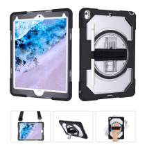 """Miesherk iPad 10.5 Case, Heavy Duty Shockproof Rugged Case with Pencil Holder, 360 Degree Rotating Hand Strap Shoulder Strap for iPad Air 3rd Generation 10.5"""" 2019 / iPad Pro 10.5 2017, Clear Black"""