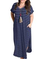 Yskkt Womens Plus Size Maxi Dresses Striped V Neck Short Sleeve T Shirt Casual Summer Long Dress with Pockets