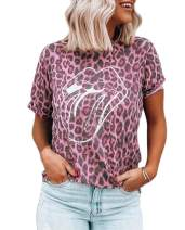 ZILIN Women Short Sleeve Red Lips Leopard Distressed Print Tongue T-Shirt Cute Graphic Tee Tops