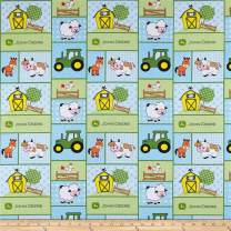 Springs Creative Products Blue John Deere Nursery Cotton Baby Barn Patch Fabric by The Yard