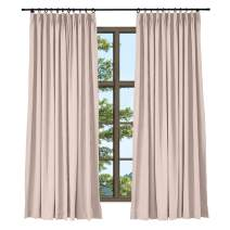 TWOPAGES Linen Cotton Pinch Pleat Curtain Elegant Natural Pink Curtain for Living Room, Window Treatment Drape (1 Panel, 52 x 63 Inches)