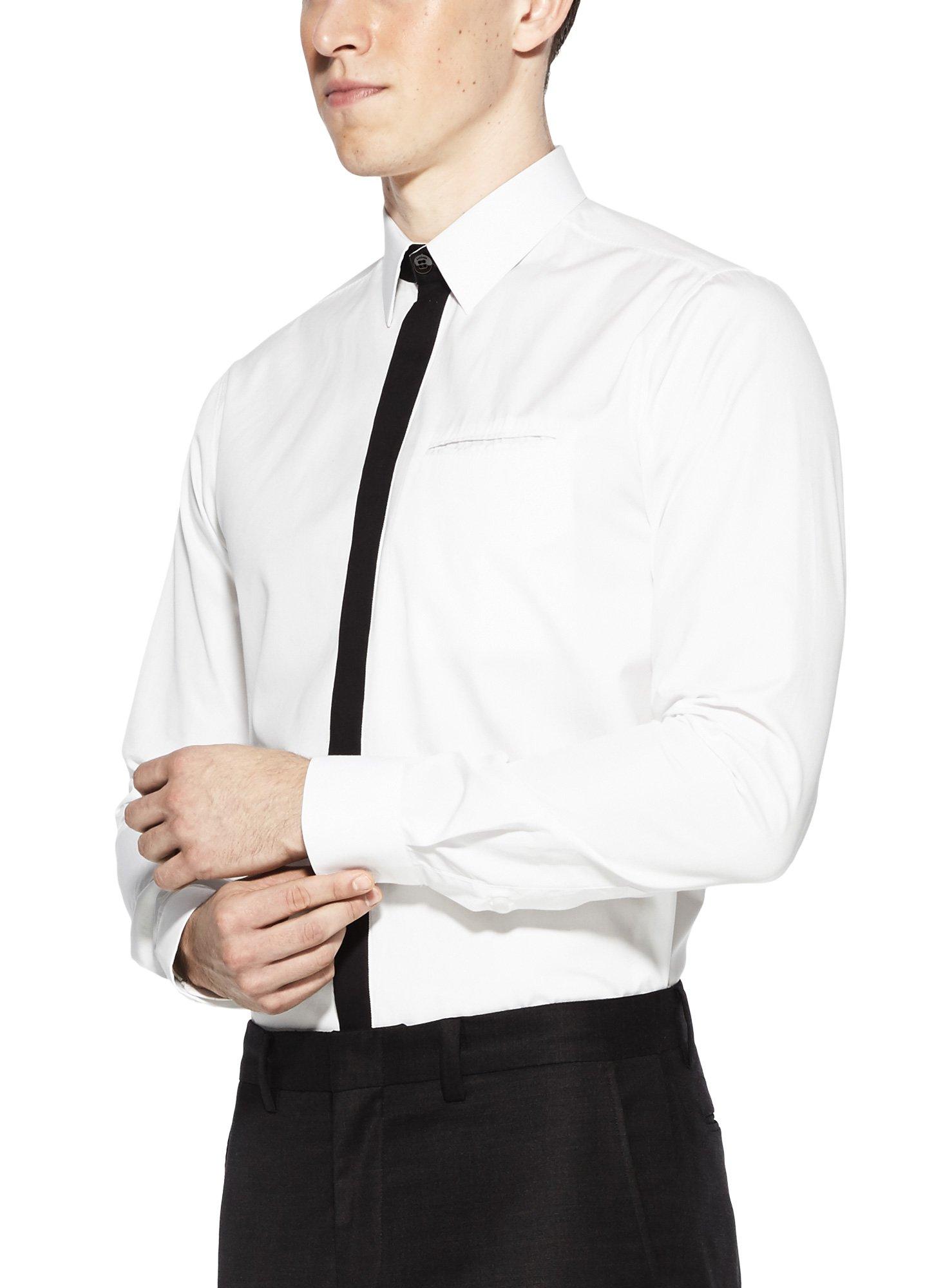 Vardama Men's Performance White Dress Shirt With Contrast Placket Welt Pocket Bond St
