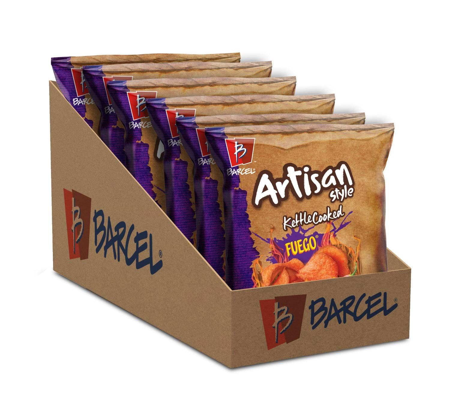 Barcel Artisan Style Kettle Cooked Chips - Crunchy Thin Cut Potato Chips – Fuego Flavor (Hot Chili Pepper & Lime), Box With 6 Bags (4 Oz Each), Fuego, 6Count
