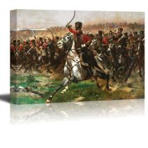 """wall26 - Charge of The 4th Hussars at The Battle of Friedland, 14 June 1807 by Edouard Detaille - Canvas Print Wall Art Famous Painting Reproduction - 12"""" x 18"""""""