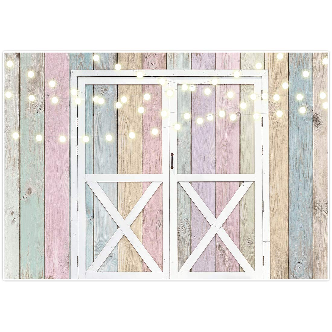 Allenjoy Rustic Colorful Wood Board Barn Spring Backdrop Photography Easter Rural Door Wedding Bridal Baby Shower Bday Party Wall Decor Banner Background 7x5ft Western Kids Newborn Photo Booth Props